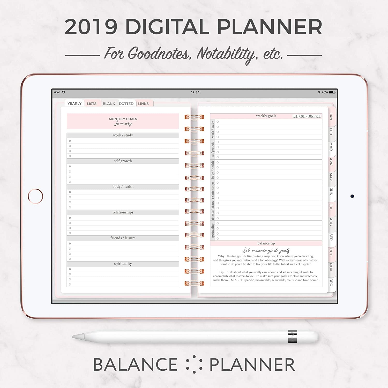 image relating to Digital Day Planner identified as : Electronic Planner for iPAD 2019 Dated Goodnotes