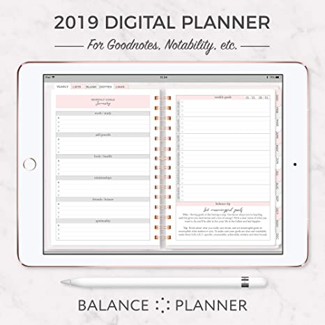Amazon com : Digital Planner for iPAD | 2019 Dated Goodnotes