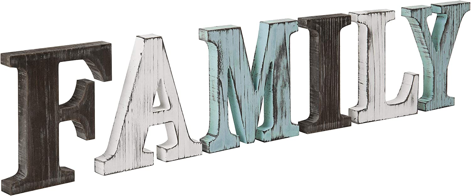 MyGift Rustic Multicolor Wood Tabletop Family Letters Sign