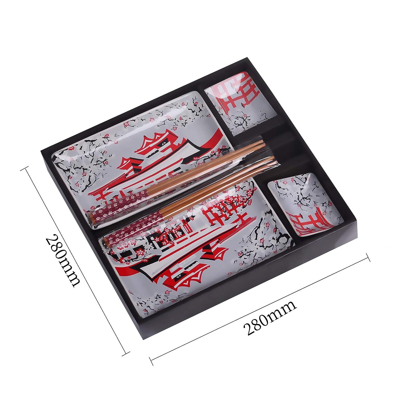 Panbado Vajilla de Sushi de Cerámica 8 Piezas para 2 Personas ...