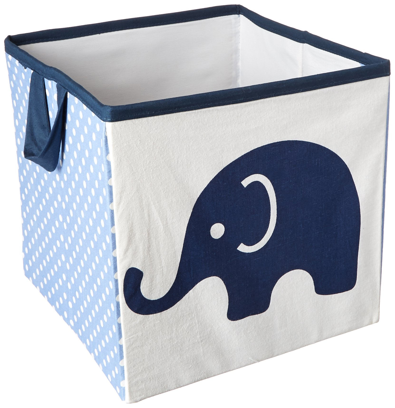 Bacati Elephants Storage Tote Basket, Blue/Grey, Small