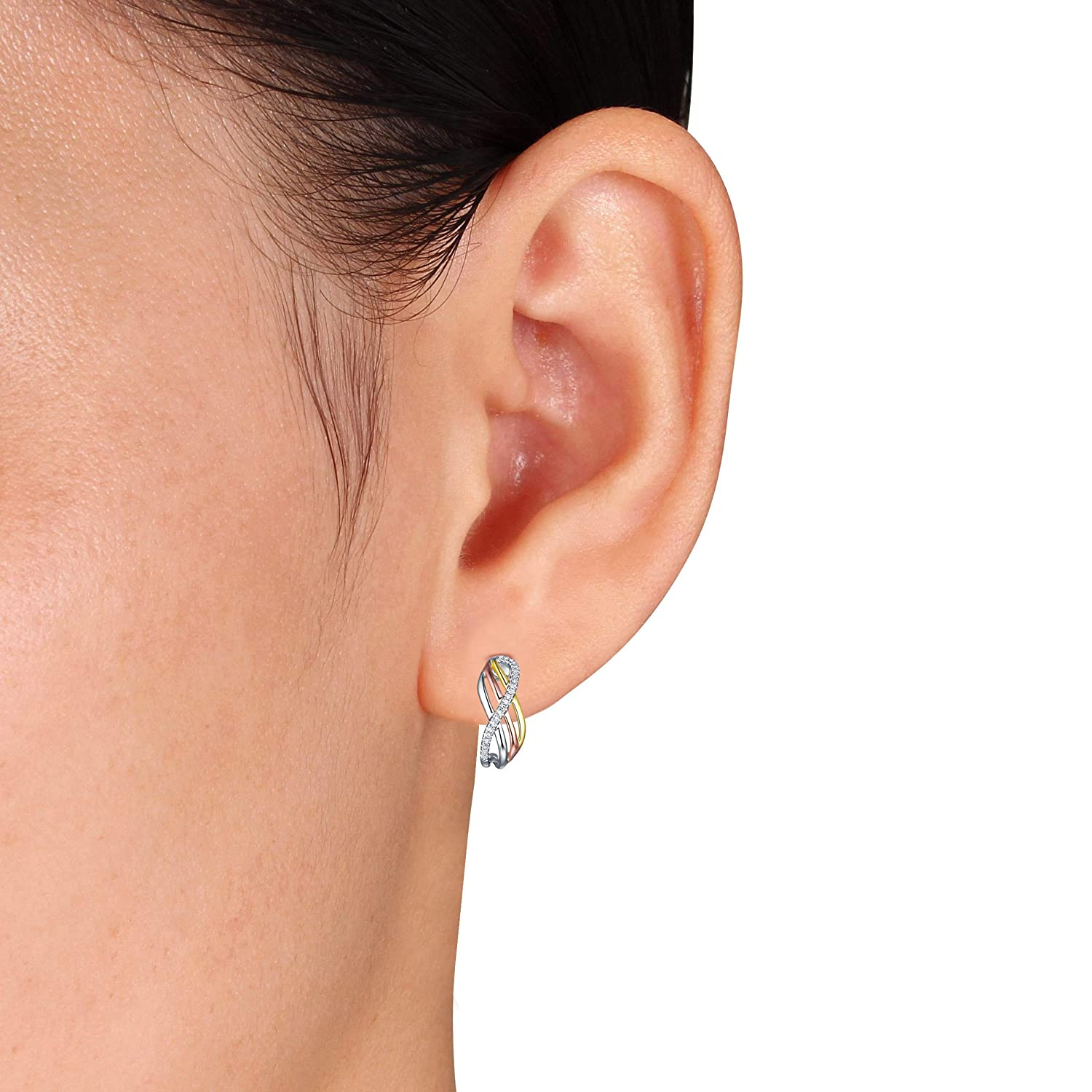 Prism Jewel 0.08Ct Natural Diamond Tri Color Gold Multi Crossover Push Back Earrings Crafted In 18k Gold