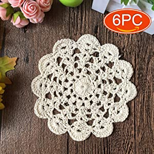 Elesa Miracle 5 Inch 6pc Handmade Round Crochet Cotton Lace Table Placemats Doilies Value Pack, Petal, Beige/White (6pc-5 Inch Beige)