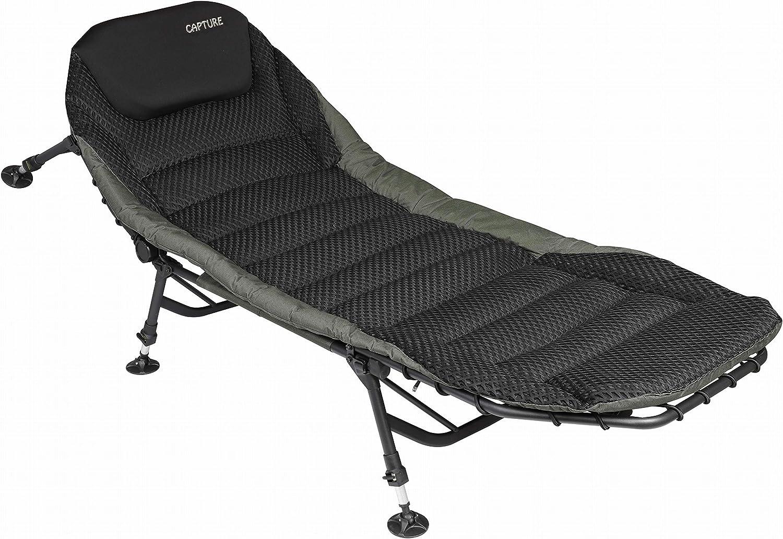 Captura Carp Bedchair Grand Luxe, Airflow Black Ergo Bedchair, ergonómica, cama carpista, 6 pies, etc.: Amazon.es: Deportes y aire libre
