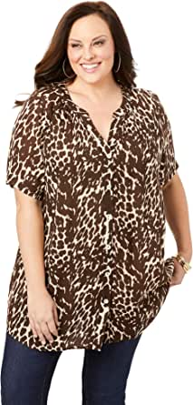 Roamans Women's Plus Size Angelina Tunic Long Button Front Shirt