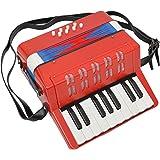 Ts-ideen - Acordeón de juguete (17 teclas y 8 bajos, para niños a partir e 3 años), color rojo