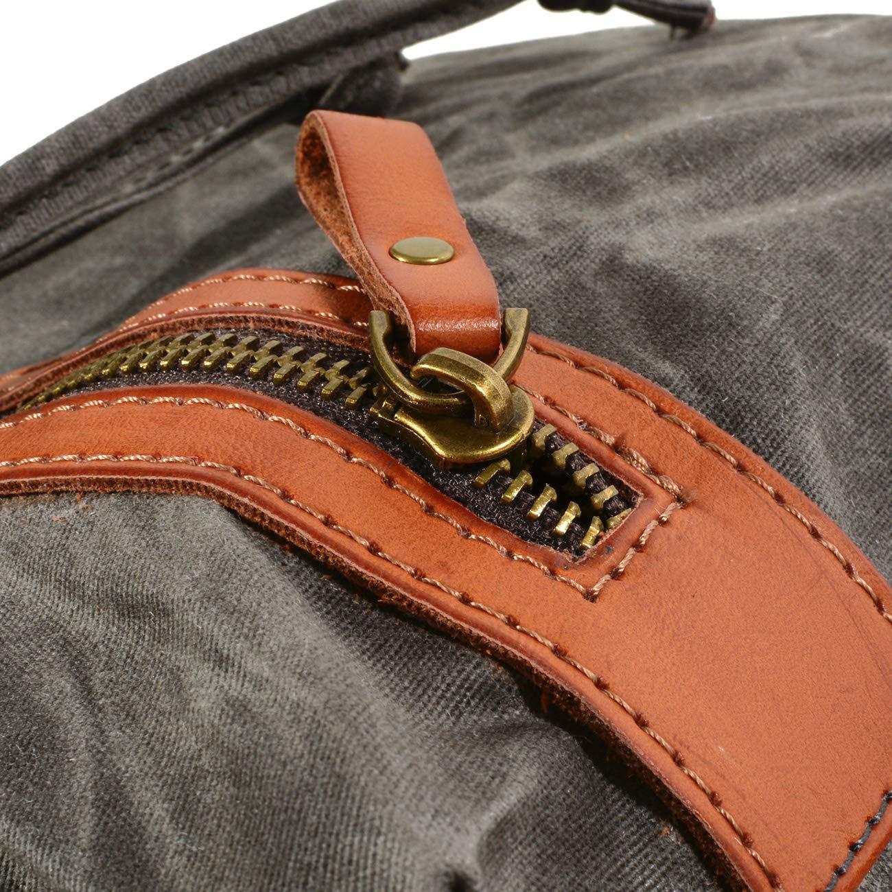 Genuine Leather-Waxed Canvas Vintage Shoulder Rucksack WUDON 1039KW Travel Backpack for Men