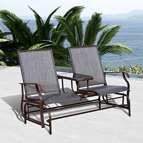 Entertaining Natural Relaxing Roll Recliner Brown Steel Frame Gray Sling 728 lbs Patio Glider Rocking Chair Bench Daybed Loveseat 2 Person Rocker Deck with Elevated Table Outdoor Furniture