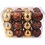"""Valery Madelyn Christmas Ball Ornaments Woodland Shatterproof , 24 Set, 70mm/2.75"""",24 Hooks Included"""