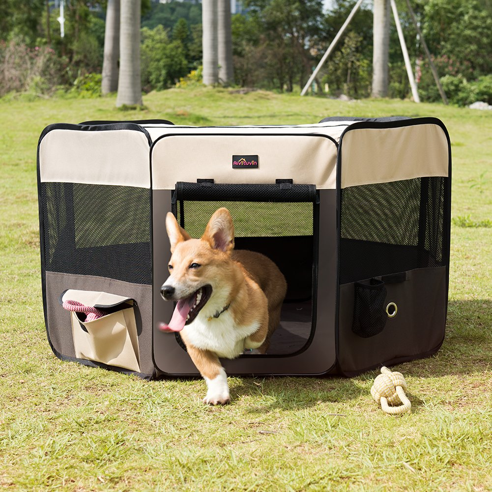 Aivituvin Pet Playpen 45'' Portable Foldable Exercise Pen Compatible Small & Large Dog,Kitten,Rabbit,Puppy-Oxford Cage & Kennel Suit Compatible Indoor/Outdoor Use Removable Shade Cover-Durable (Brown) by Aivituvin (Image #6)