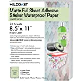 "Milcoast Matte Colored Full Sheet 8.5 x 11"" Adhesive Tear Resistant Waterproof Photo Craft Paper – For Inkjet / Laser Printers (25 Sheets, Pastel Green)"