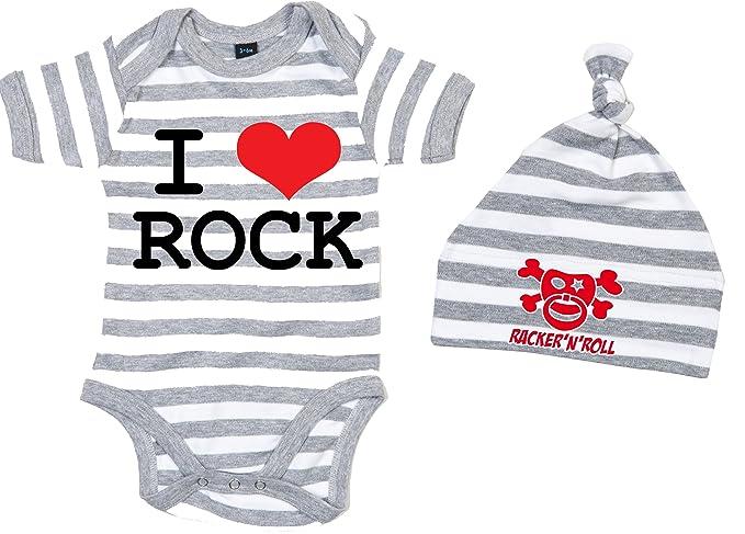 I love rock bébé-Body gris//blanc rayé
