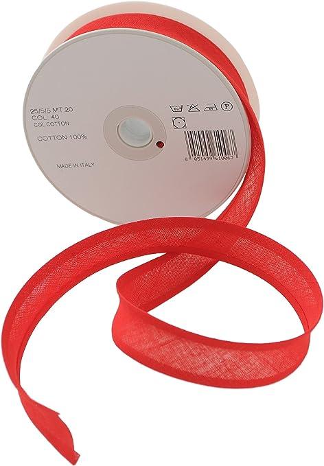 Inastri - Cinta bies de algodón, 25/5/ 5 mm, Color Rojo: Amazon.es: Hogar