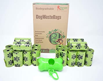 Biodegradable Dog Poop Bags (400 Bag) by Purrpet Pets 1 Holder Included
