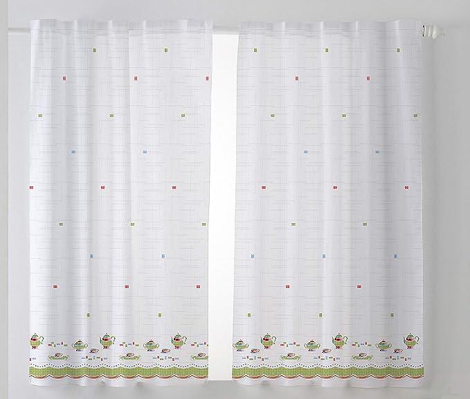 Cardenal Textil Tazas Cortina Cocina Visillo, Tela, Verde, Pack 2 100 x 140 cm: Amazon.es: Hogar