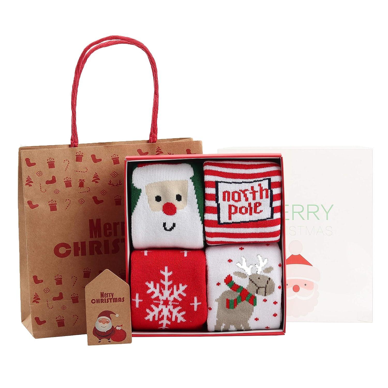 0-10 anni ragazzi ragazze cotone calzini bimbi invernali caldo spessori morbido ANIMQUE Calze natalizie per beb/è e bambini 4 paia in confezioni regalo