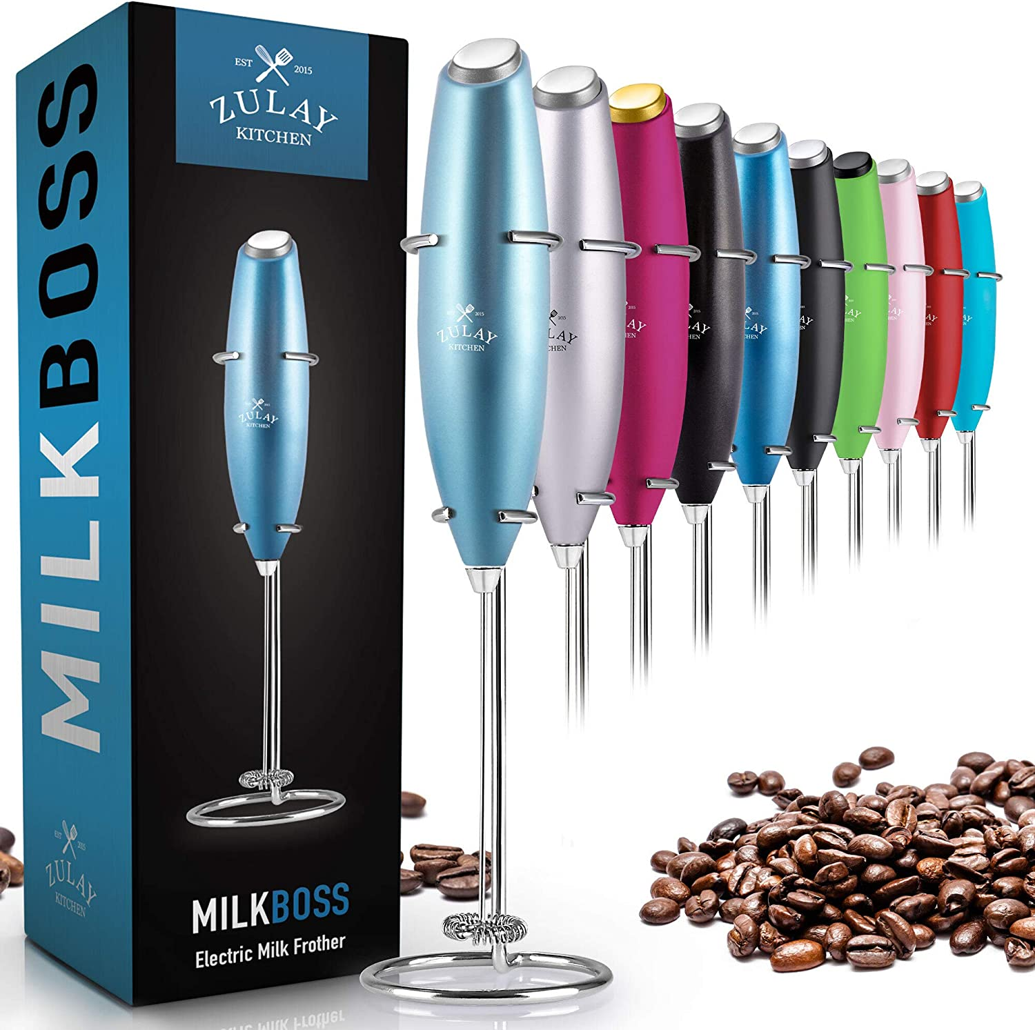 Zulay Original Milk Frother Handheld Foam Maker for Lattes - Whisk Drink Mixer for Coffee, Mini Foamer for Cappuccino, Frappe, Matcha, Hot Chocolate by Milk Boss (Metallic Ice Blue)