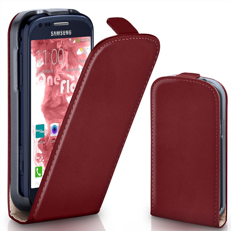 moex Samsung Galaxy S3 Mini | Hülle Dunkel-Rot 360° Klapp-Hülle Etui ...