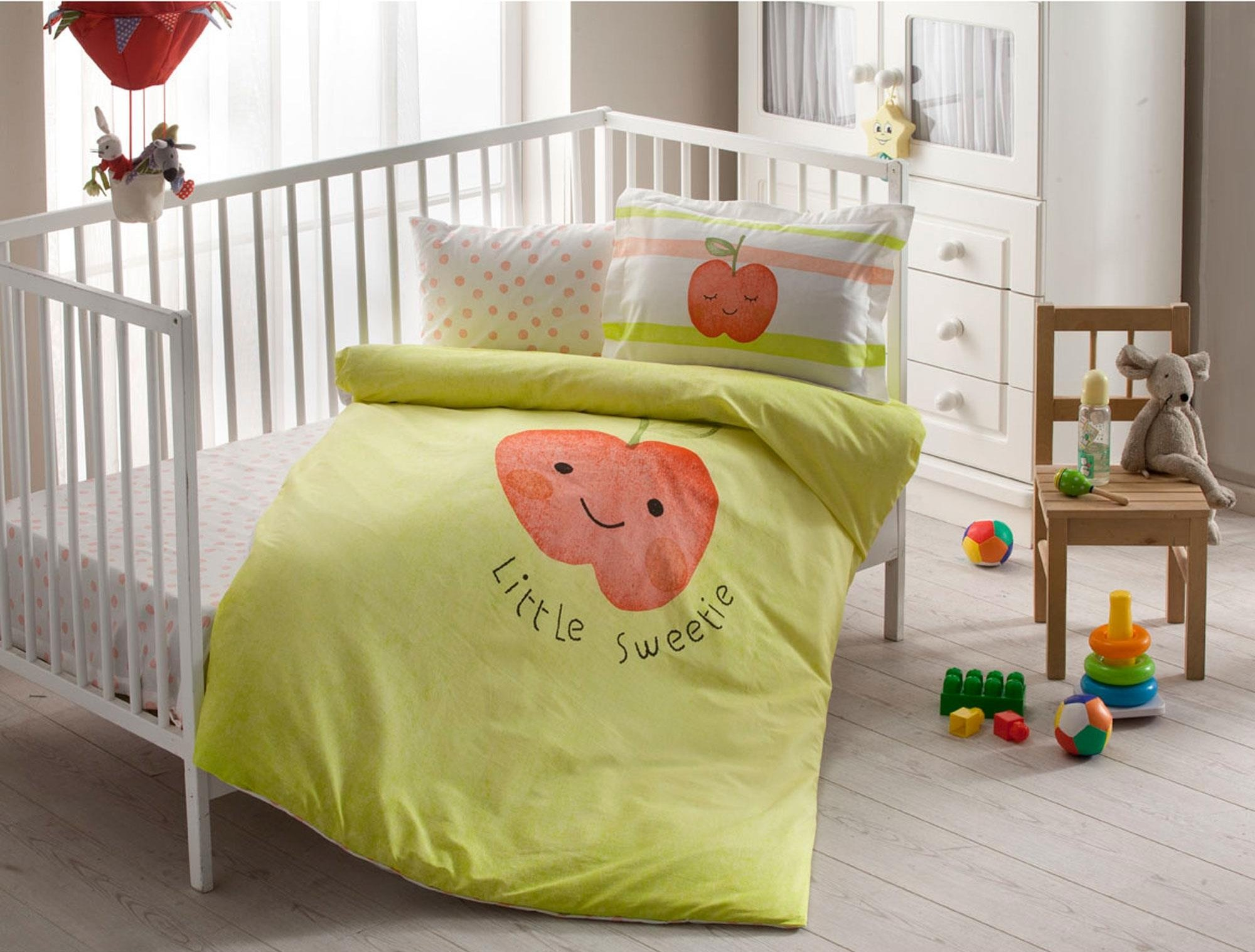 100% Organic Cotton Soft and Healthy Baby Crib Bed Duvet Cover Set 4 Pieces, Hallmark Baby Bedding Set