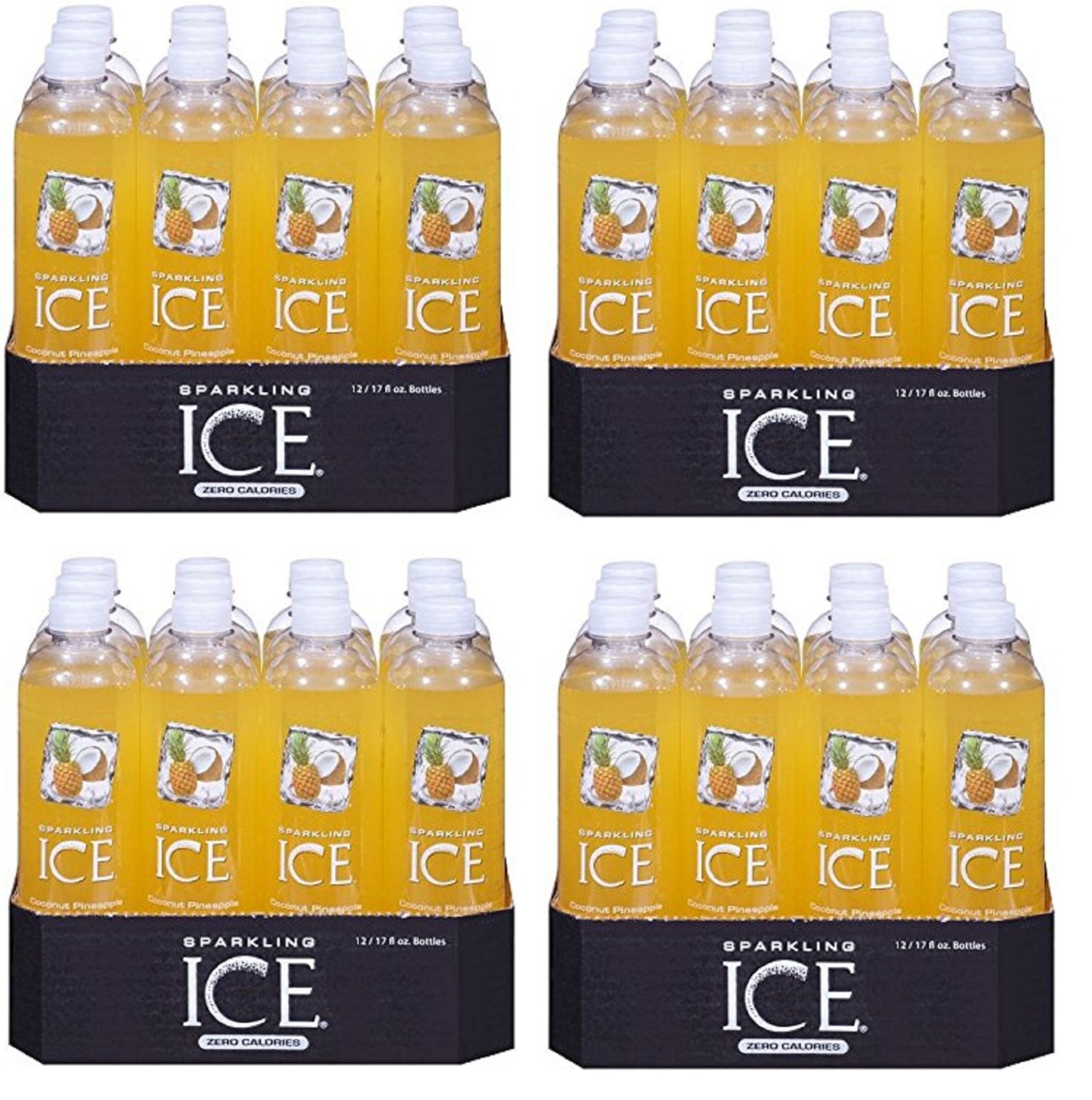 Sparkling Ice, YlGwXb 48 Pack (Coconut Pineapple, 17 Ounce Bottles)