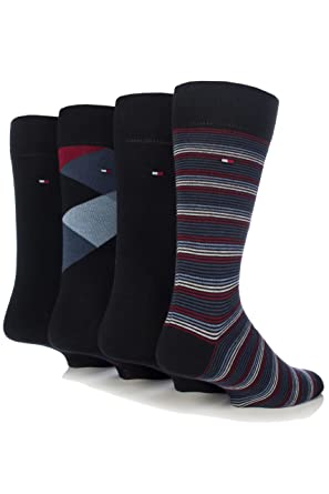 14cdfc815 Tommy Hilfiger 4Pack Socks in Gift Tin Midnight Blue (UK 6-8 (39/42)):  Amazon.co.uk: Clothing