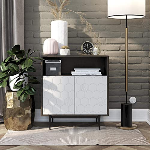 CosmoLiving by Cosmopolitan Olivia Storage Oak Cabinet, Gray Wood Grain