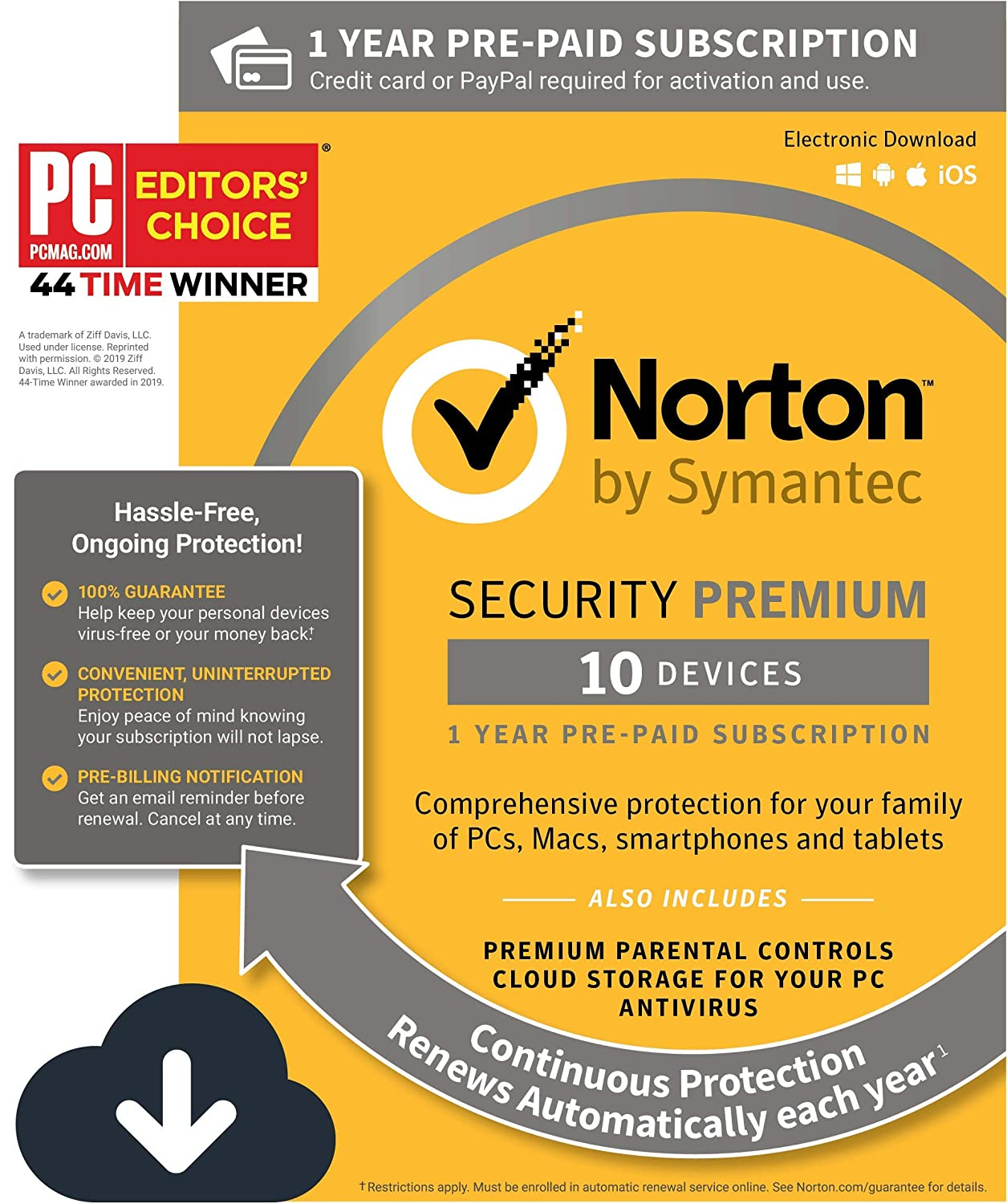 Norton Security Premium – Antivirus software for 10 Devices with Auto  Renewal, Requires Payment Method – 1 Year Pre-Paid Subscription  [PC/Mac/Mobile