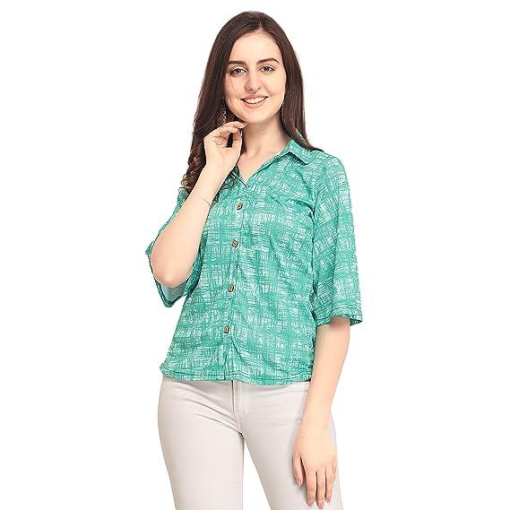 cf235758d32 fmania Women's Polyester Multi Color Half Sleeve Top: Amazon.in ...