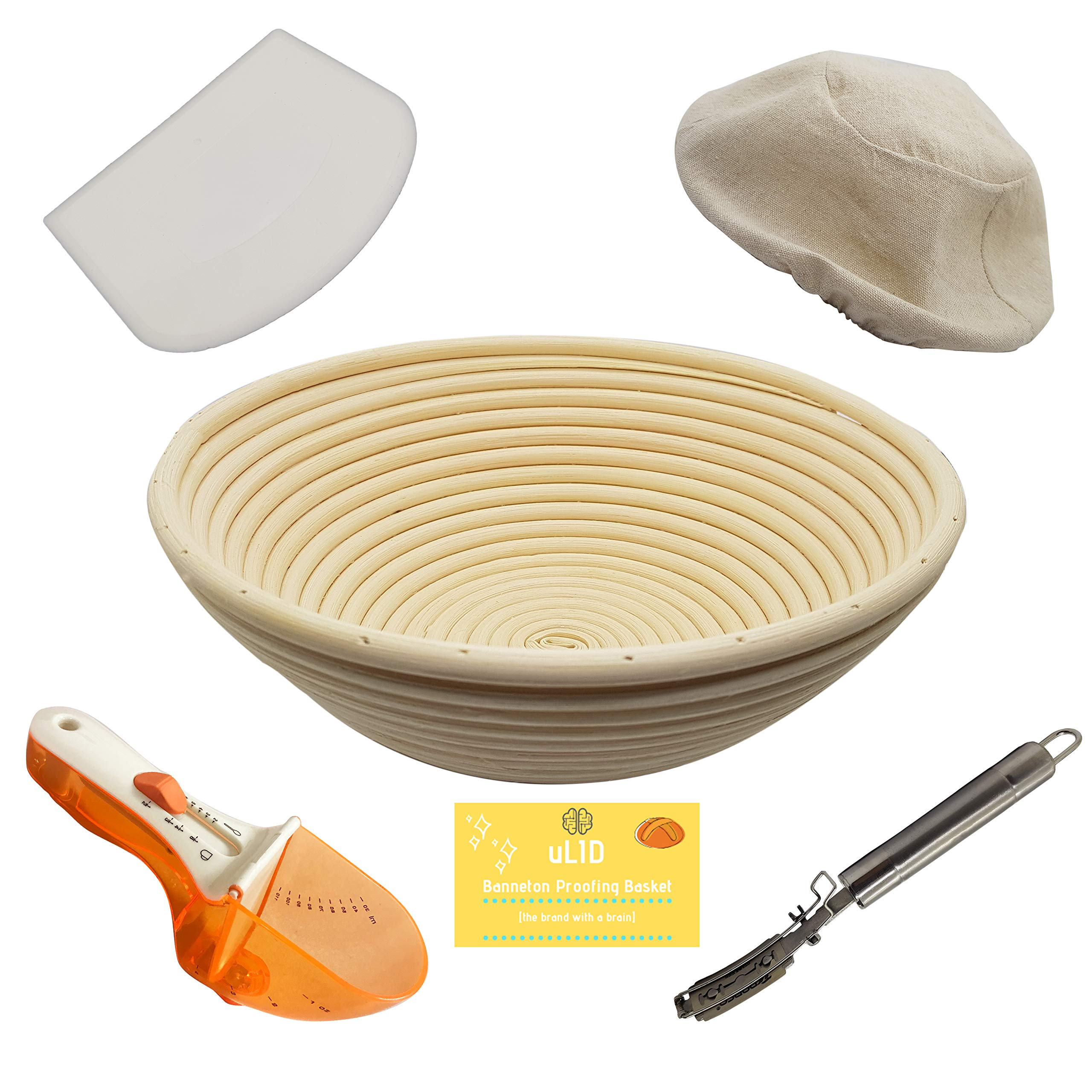 10 Inch Banneton Proofing Basket, Metal Bread Lame, Heavy Duty Dough Scraper, Adjustable Measuring Spoon THE essential set by uLID by Ulid