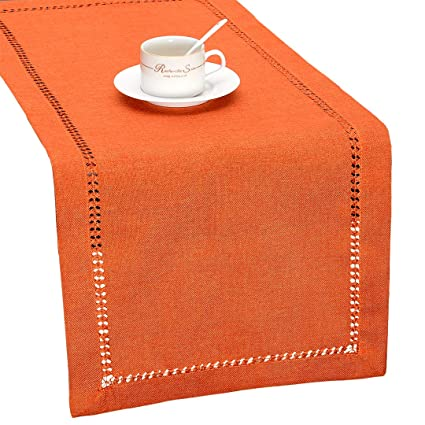 Grelucgo Handmade Hemstitch Orange Thanksgiving Table Runner Or Dresser Scarf, Fall Autumn Decorations(14 x 72 Inch) best thanksgiving table runners