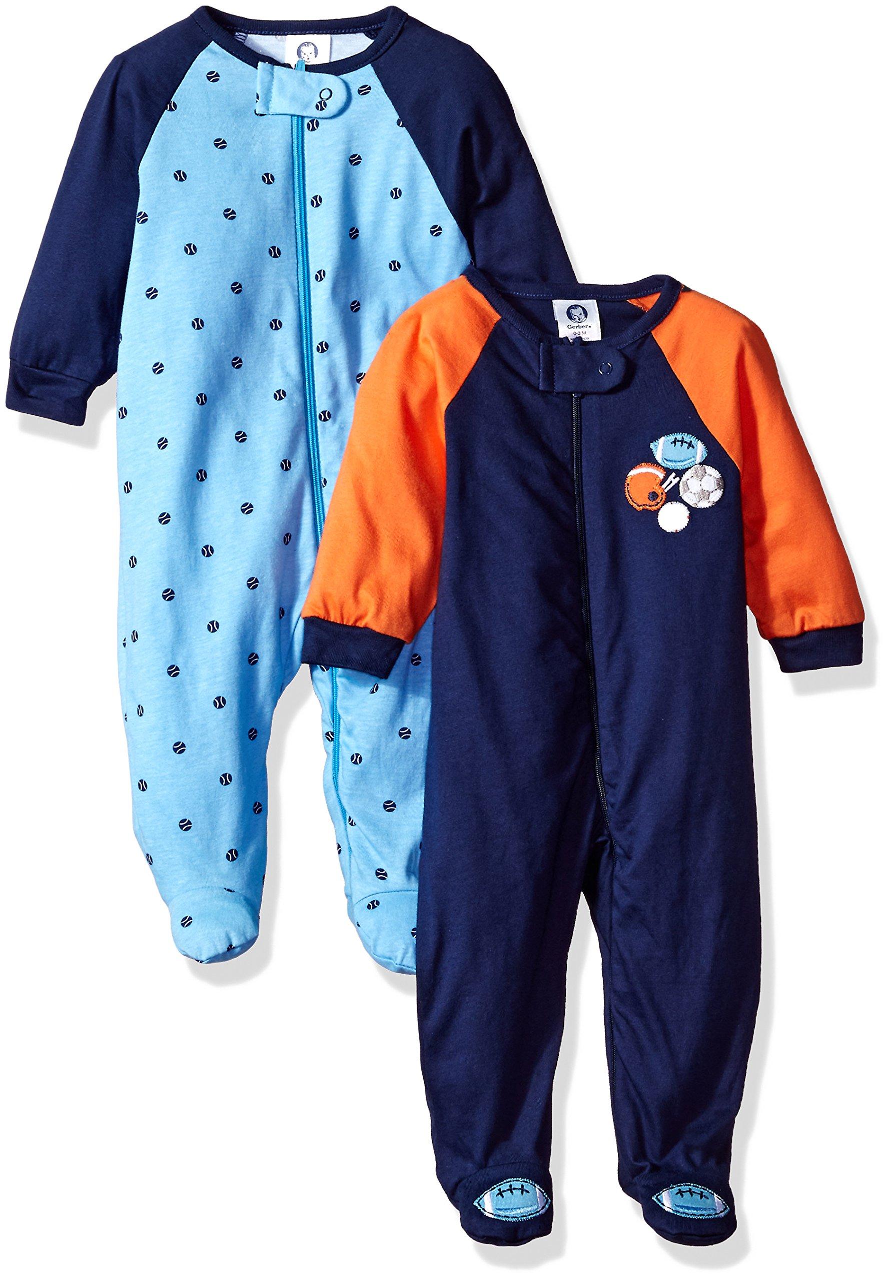 Gerber Baby Boys 2 Pack Zip Front Sleep 'n Play, Lil Athlete, 0-3 Months