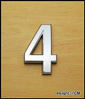 silberne Zahl Nummer 8 aus Chrom f/ür Autos Selbstklebende 3D abgerundet T/üren 7/cm