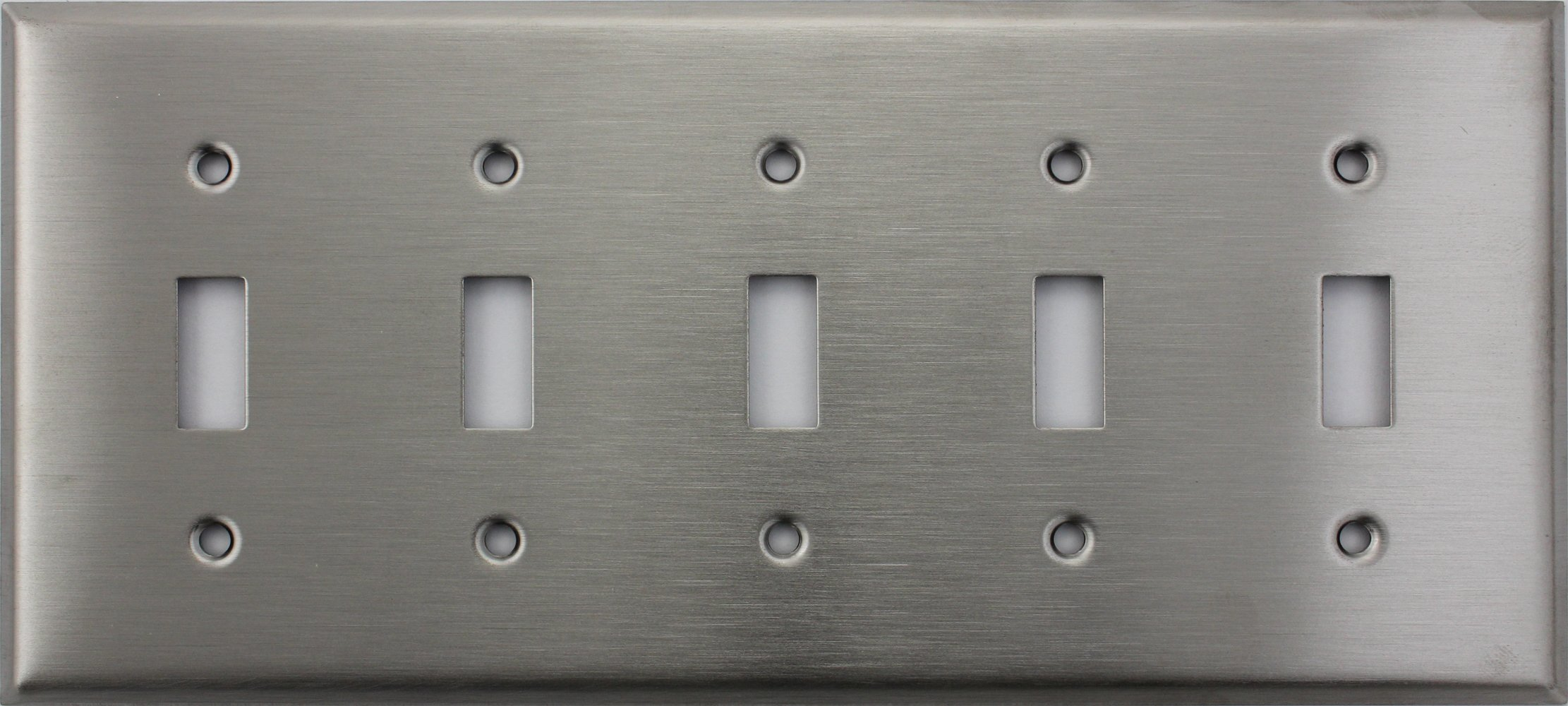 Brushed Satin Stainless Steel Five Gang Toggle Switch Wall Plate