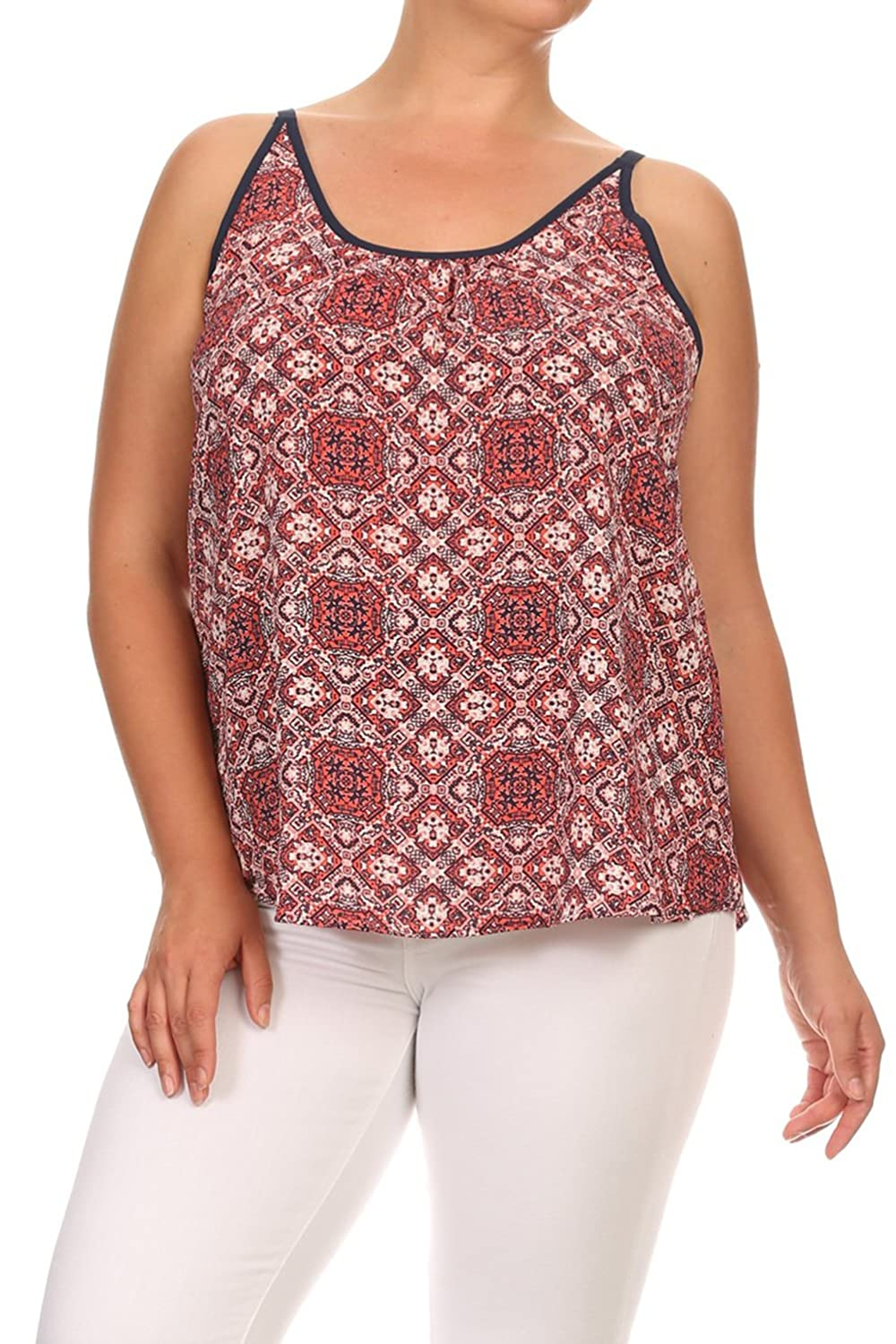 Vialumi Women's Junior Plus Damask Printed Sleeveless Cami Top Berry Red