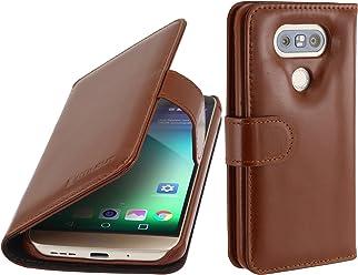 StilGut Talis, custodia in vera pelle per LG G5 con scomparti per carte di credito, biglietti da visita e banconote, cognac