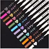 Dyvicl Metallic Markers Paint Marker Pens - 12 Colors Metallic Marker Pens for Black Paper, Adult Coloring Books, Planner, Ca