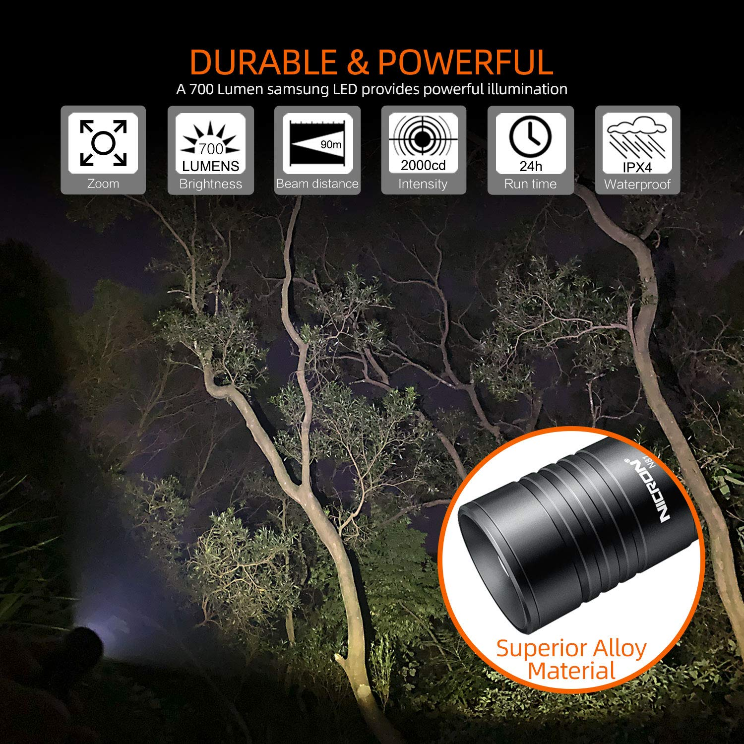 Flashlight,NICRON N81 Tactical EDC Flashlight 700 Lumens,Zoomable,18650//AA battery IPX4 Waterproof Led Flashlight 5 Modes Best High Lumens are for,Camping,Outdoor,Hiking Not Including Batteries