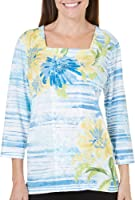 Alfred Dunner Petites' Floral Stripe Knit Top