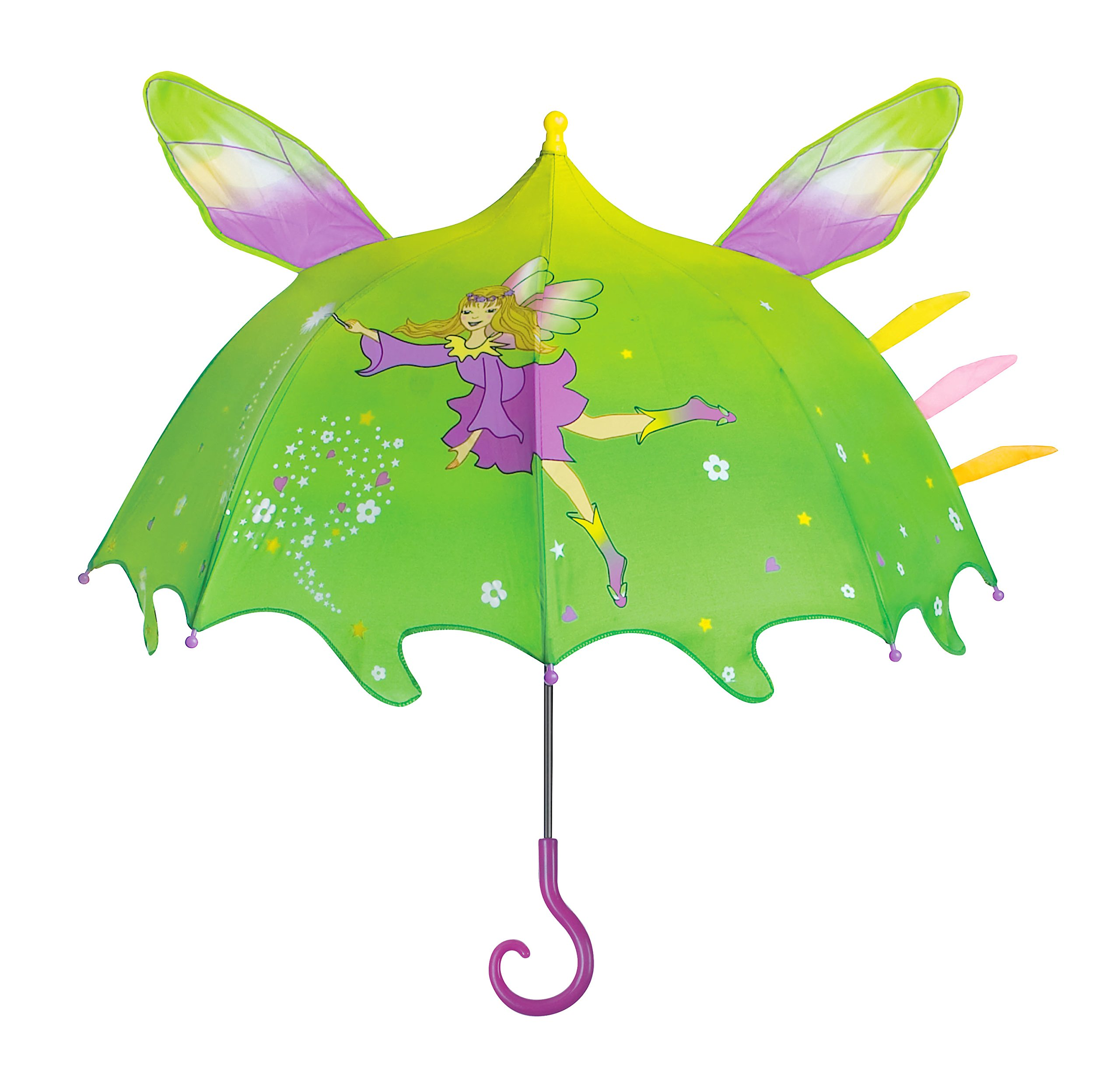 Kidorable Green Fairy Umbrella for Girls w/Fun Magic Wand Handle Pop-Out Wings Fairy Dust 1 Size