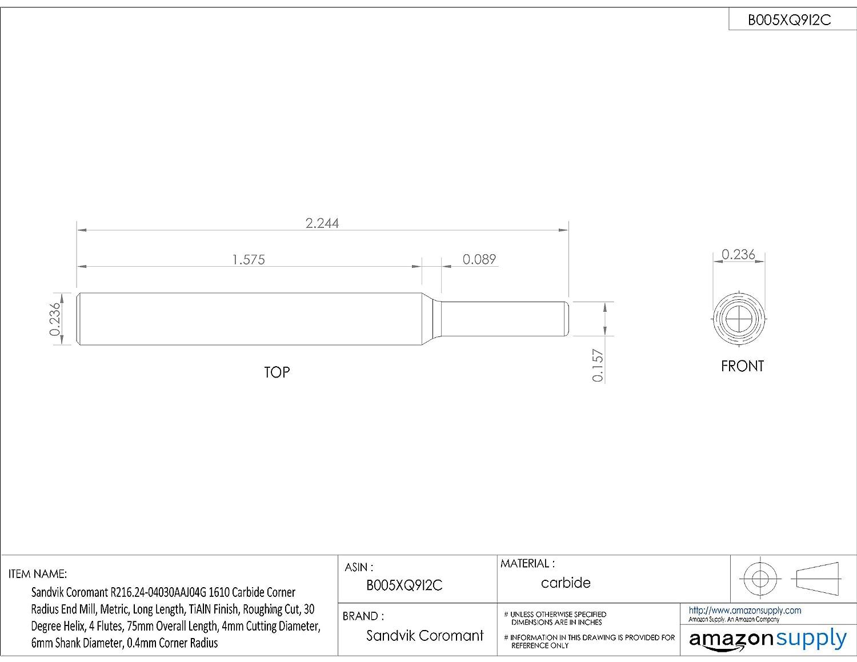 6mm Shank Diameter Roughing Cut Sandvik Coromant R216.24 Carbide Corner Radius End Mill Metric 4mm Cutting Diameter 0.4mm Corner Radius 4 Flutes TiAlN Monolayer Finish 30 Deg Helix 75mm Overall Length