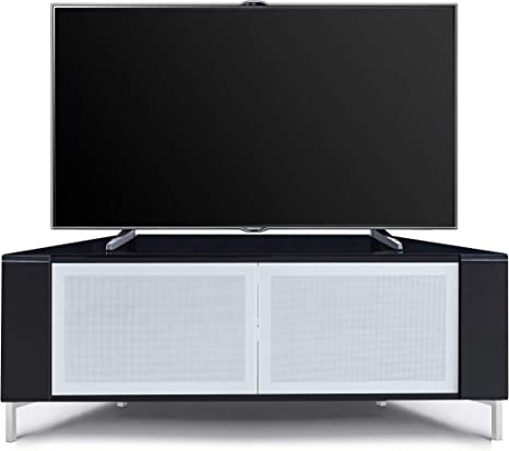 Homeology CORVUS - Puertas de cristal blanco con perfiles negros brillantes para televisores de pantalla plana de hasta 50 pulgadas: Amazon.es: Electrónica