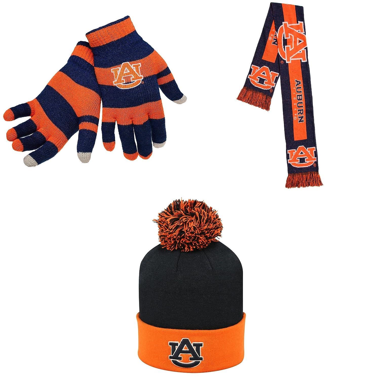 NCAA Auburn TigersグローブストライプニットBigロゴスカーフとポンポン付きニット帽3パックバンドル B01N6CECOV