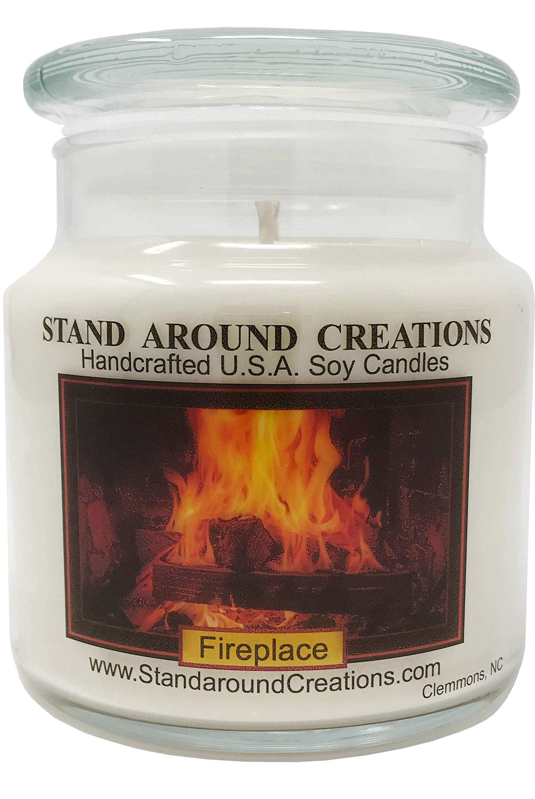 Premium 100% Soy Apothecary Candle - 16oz. - Fireplace: A woodsy, earthy aroma. True to it's name.