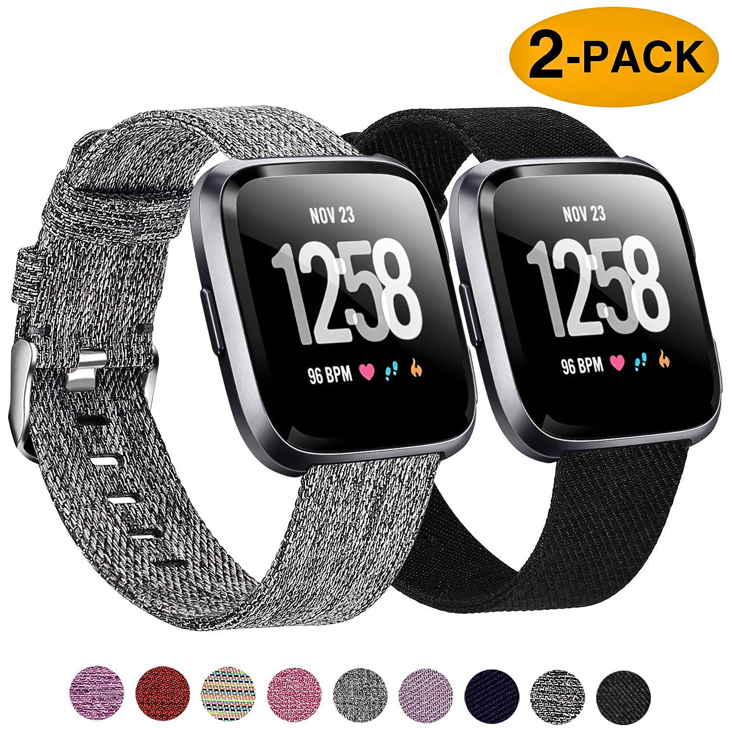 Welltin 2 Pack Bands Compatible with Fitbit Versa/Fitbit Versa 2 / Fitbit Versa Lite for Women Men, Breathable Woven Fabric Strap, Adjustable Replacement Wristband for Fitbit Versa Smart Watch by Welltin