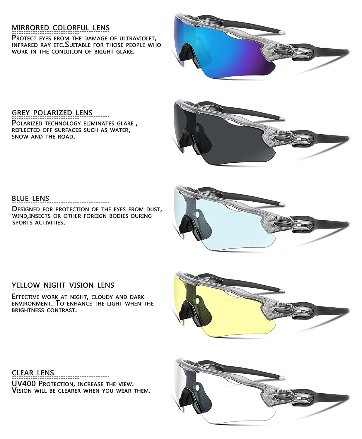 51d46d172c FEISEDY Polarized Sports Sunglasses REVO Changeable Lenses TR90 Frame  Cycling B2280  Amazon.com.au  Sports