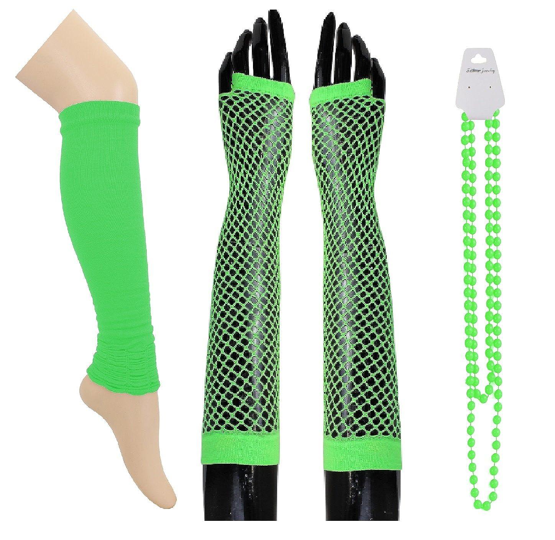 Sofias Closet Womens Neon Leg Warmer Fishnet Gloves Beads Set Fancy Dress Rave 80s Disco