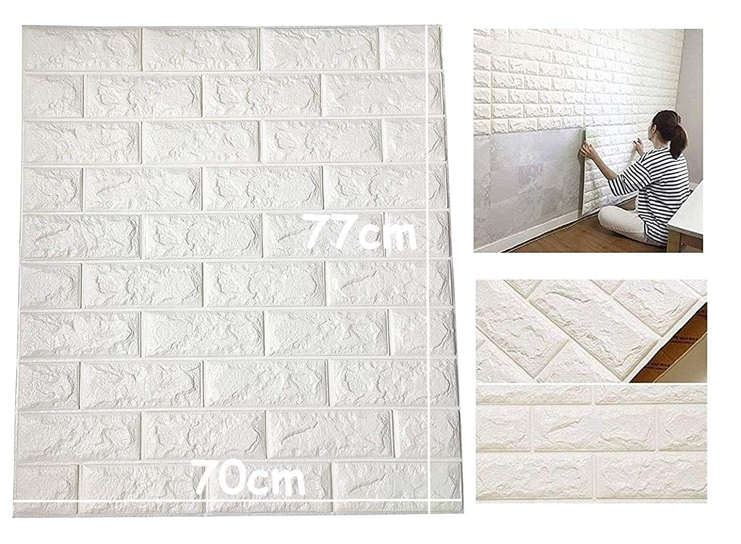 Lukzer 16 Pc 3d Pe Foam Self Adhesive Brick Design Wall Stickers Diy Wallpaper For Home Hotel Living Room Bedroom Cafe Decor 70 X 77 Cm White Amazon In Home Kitchen