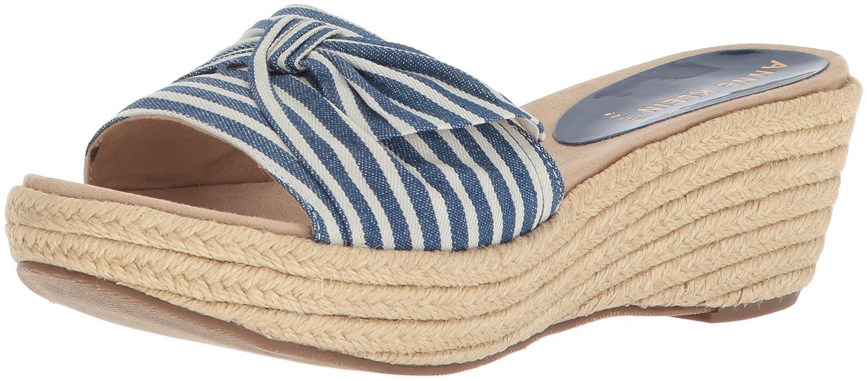 Anne Klein Women's Zandal Wedge Slide Sandal B078NL2GQX 6.5 B(M) US|Blue/White Fabric