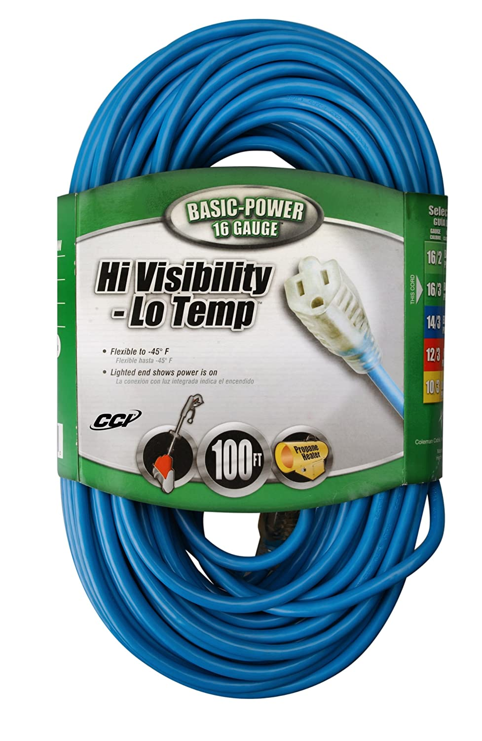 Coleman Cable 2369 16/3-Gauge High Visibility and Low Temperature Outdoor Extension Cord, 100-Feet, Blue 23698806