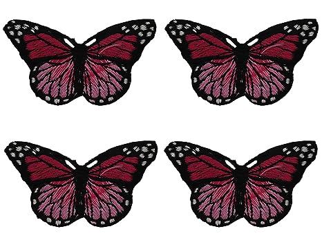 Parches bordados 4 UNIDS Nuevas Mariposas Flor Apliques Bordado Tela Pasta Blossom Flower Applique Ropa parche
